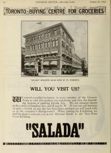 Salada 461 King St W Canadian Grocer 1922