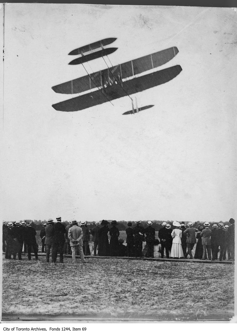 Ralph Johnstone flying box kite airplane. - July, 1910