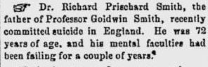 Goldwin Smith's father Morning Chronicle Nov 11 1867